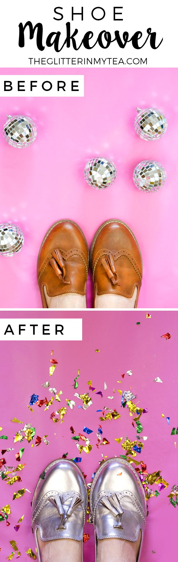 DIY New Year's Eve Shoes Makeover. Update an old pair of shoes with chrome, metallic spray paint (get full tutorial on the blog) | theglitterinmytea.com