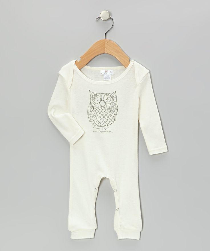 Ivory 'Whooo's Your Baby' Owl Long Sleeve Romper