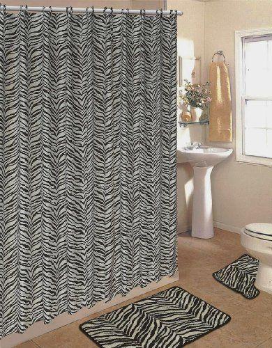 4pcs Bath Rug Set Zebra White Print Bathroom Rug Shower Curtain Mat / Rings | Home Style Studio