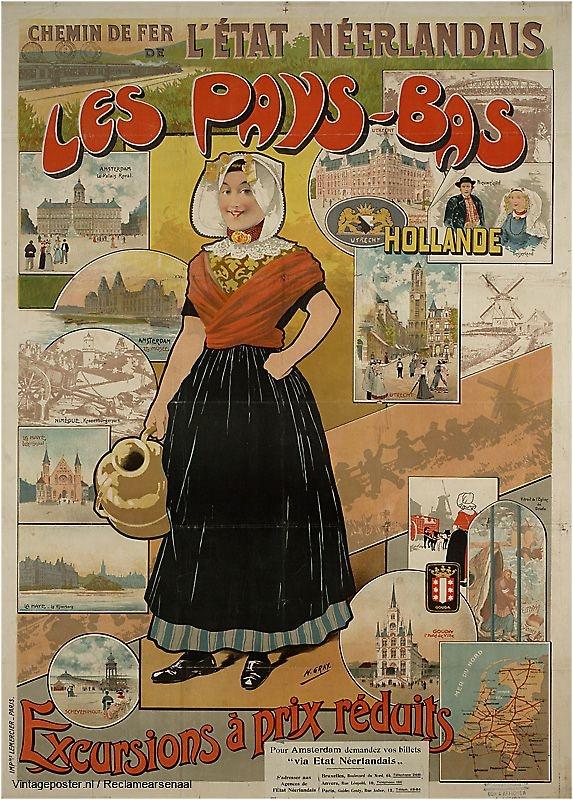 Reclame posters | 1900 | Chemin de fer l'Etat Neerlandais Les Pays Bas. Hollande.| Historical Posters