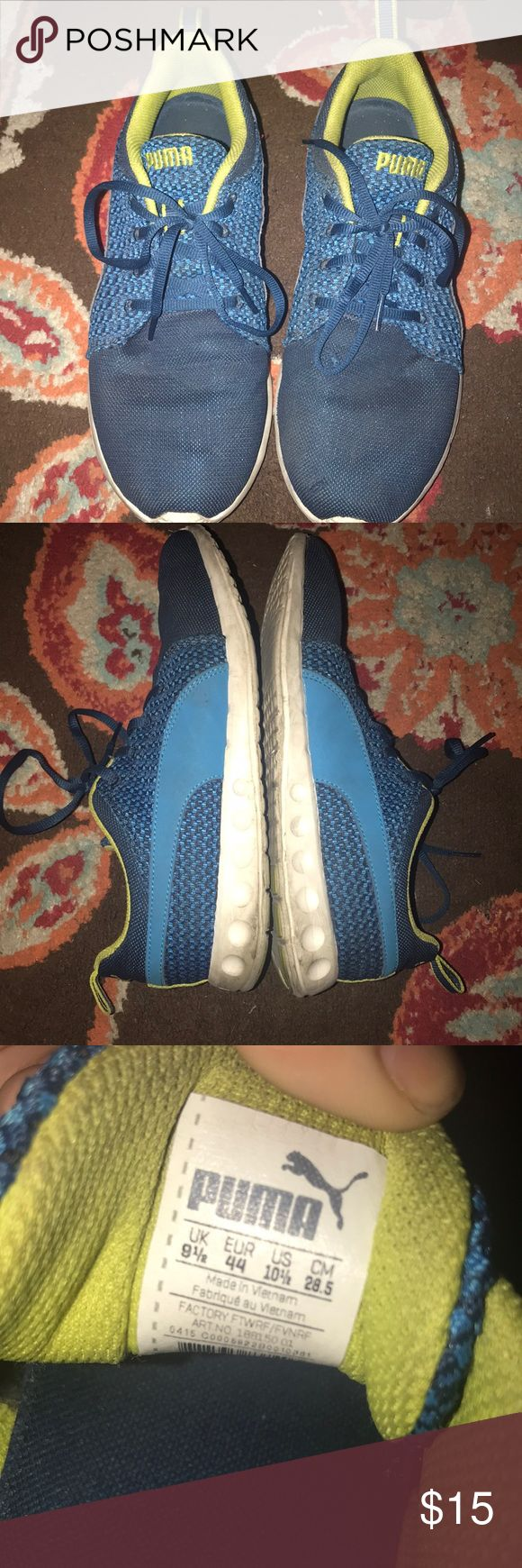 Mens PUMA sneakers Used as seen, still have life in them! Has small snag on left shoe as seen on pic Colors are lime green and blue Puma Shoes Athletic Shoes