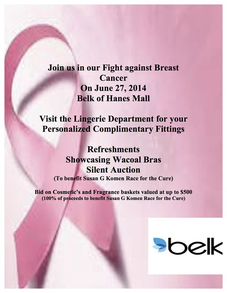 This Friday, Belk of Hanes Mall in Winston-Salem is offering complimentary bra fittings and hosting a silent auction.