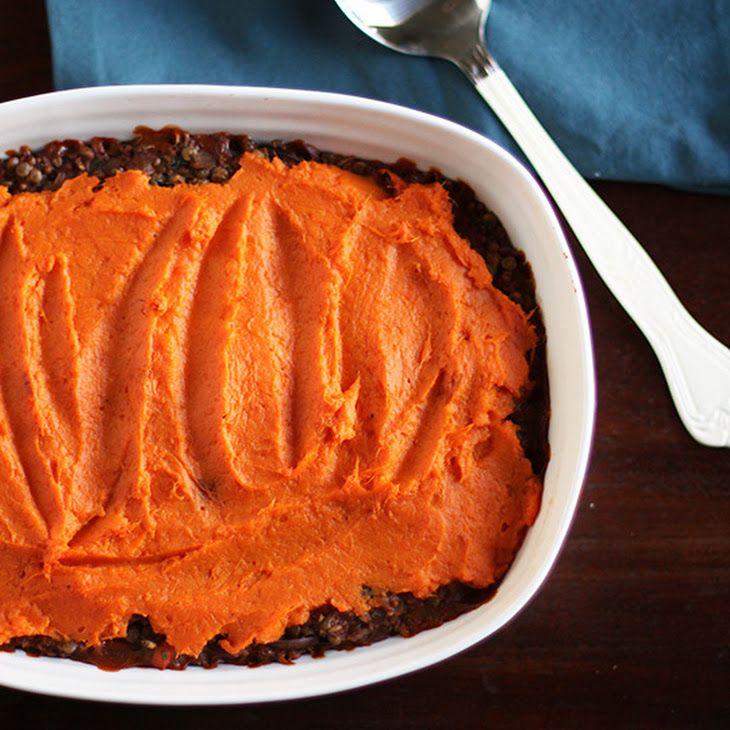 Lentil, Mushroom, sweet potato shepards pie