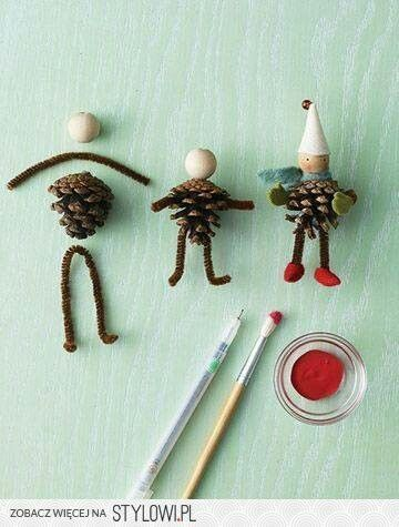 DIY Make a Pinecone Gnome.....with a woodem bead, pipecleaners and some felt pieces......