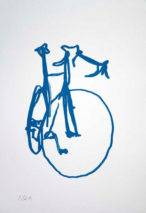 Classic Road Bike - Blue on White - Bicycle Print -  Bike Art