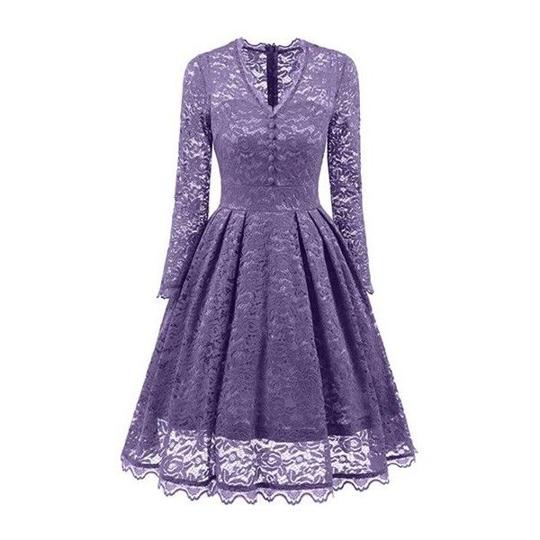 Violet 2xl Vintage Long Sleeves Lace Dress ($23) ❤ liked on Polyvore featuring dresses, violet dress, purple vintage dress, lace dress, vintage lace dress and longsleeve dress