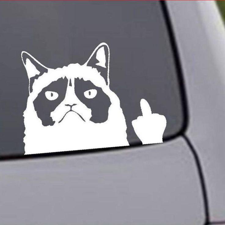 2017 heißer Verkauf Cartoon Lustige Grumpy Cat Vinyl Auto Aufkleber Abziehbilder auf Heckscheibe Fenster Schwanz Kostenloser Versand