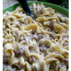Easy electric pressure cooker beef stroganoff *ground beef on 'browning' setting *drain grease *add 2 cups dry egg noodles, one can of cream of mushroom soup, 2 cups of beef broth and mix *set on high pressure for 5 minutes *release pressure when timer goes off *add 4 oz of cream cheese (cut in chunks) to pot *enjoy