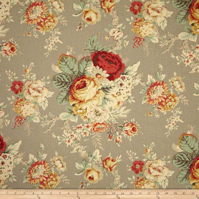 Waverly Norfolk Rose Sanctuary Rose Clay Gray Floral Fabric 5 Yards Waverly Fabric Fabric Decor Waverly