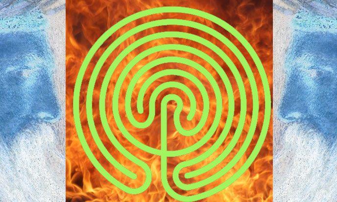 A droite et à gauche : Roi Salomon (détail) par Simeon Solomon -- domaine public -- https://pl.wikipedia.org/wiki/Salomon_(kr%C3%B3l_Izraela)#/media/File:King_Solomon.jpg   --- au centre : labyrinthe crétois, Téléversé par AnonMoos -- domaine public -- https://fr.wikipedia.org/wiki/Labyrinthe#/media/File:Cretan-labyrinth-circular-disc.svg  ---  arrière-plan : flammes, domaine public,  https://pixabay.com/fr/incendie-feu-lumineux-861801/  ---- modifiés par Stef Kervor pour Eden Saga