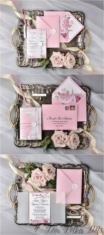 Watercolor pink garden rose wedding invitations pinkwedding