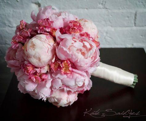 Wedding Bouquet  Pink Peony and Cherry Blossom Wedding Bouquet by KateSaidYes, $130.00 www.katesaidyesweddings.com