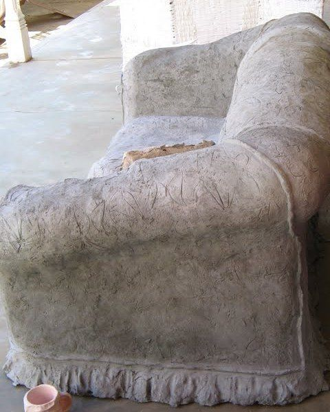 Another view of Absent presence. A 2-seater cement couch with the permanent indentation of the couple who loved to sit there. You can see the modelling detail in the piping, floral pattern and frills at the bottom.  #ArtbyCarinaturckclark @thouartuseful #art #contemporaryart #cement #concrete #sculpture #installationart