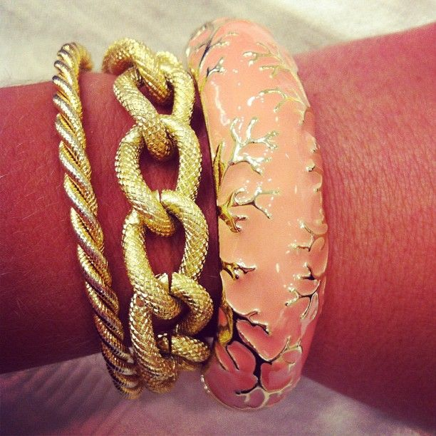 Stacked Bracelets: Gold Chains, Coral Detail Enamel Bangle