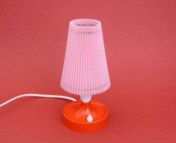 Vintage Lamp // 60's 70's pink and orange desk lamp by Yugovicheva