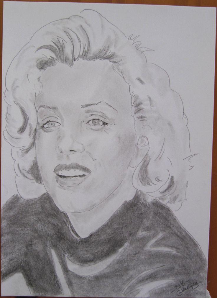 """dessin Portrait de star """"Marilyn Monroe"""" crayon graphite de la boutique…"""