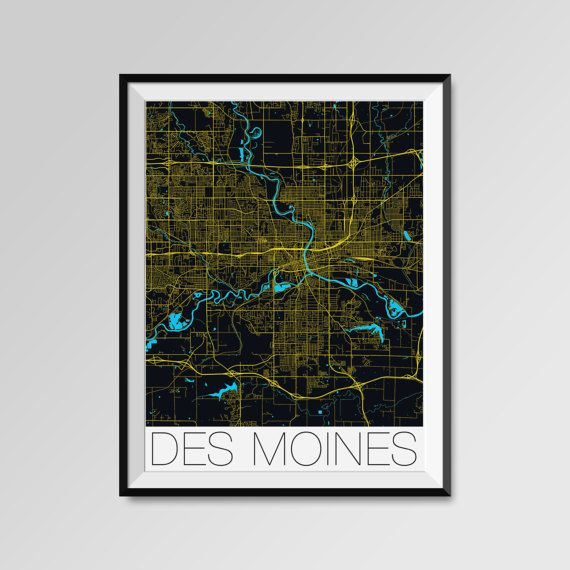 Des Moines map, Iowa, USA, yellow, Des Moines print, Des Moines poster, Des Moines map art, Des Moines city maps, Des Moines Minimal Wall Art, Des Moines Office Home Décor, black and white custom maps, personalized maps
