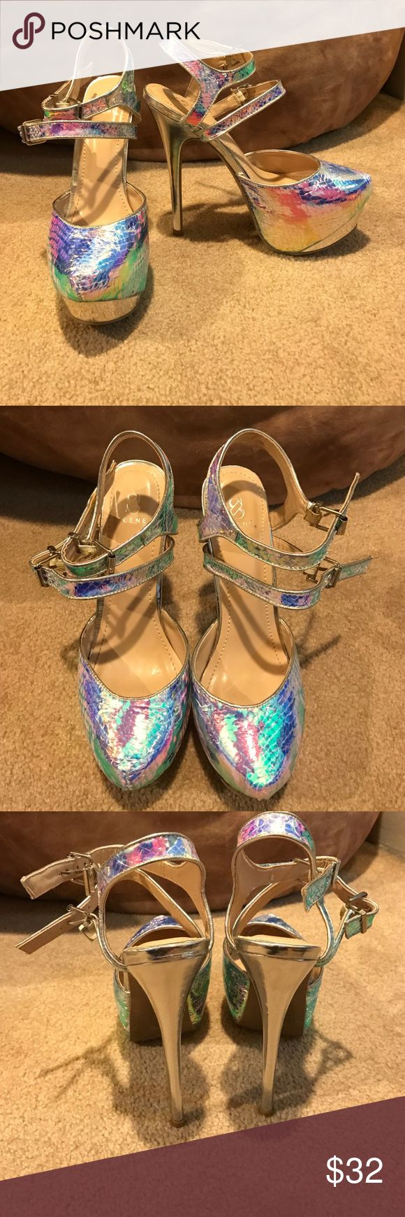 Sassy high heels! These are fun high heels that shine with the light! They are fun to wear! Size 8. Worn once. No damage. Made by Scene by Shoe Dazzle. Shoe Dazzle Shoes Heels