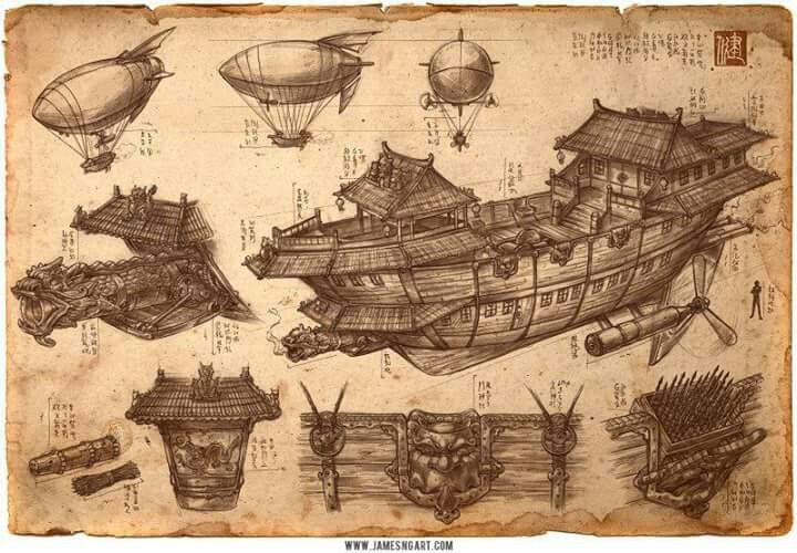Chinese Airship Design Steampunk Airships Pinterest