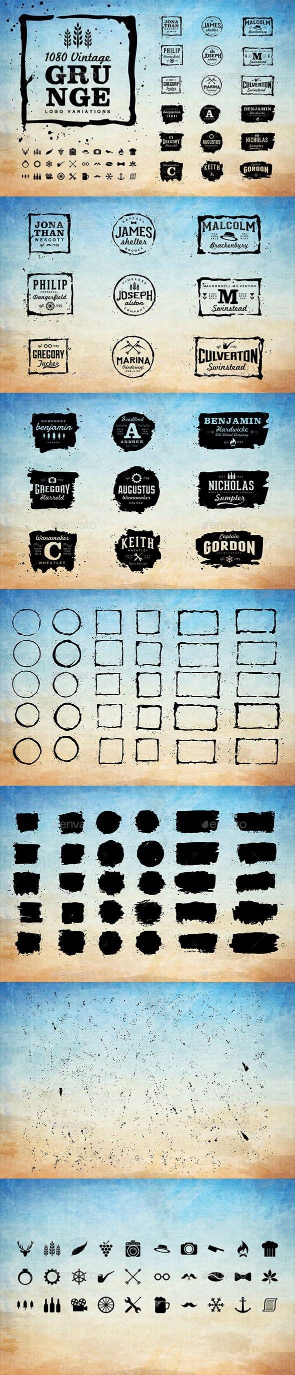 1080 Vintage Grunge Logo Variations #design Download: http://graphicriver.net/item/1080-vintage-grunge-logo-variations/11893935?ref=ksioks