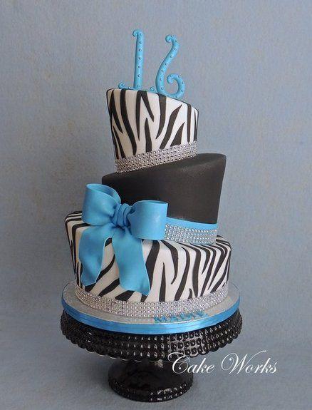 Zebra and Bling Topsy Turvy Cake