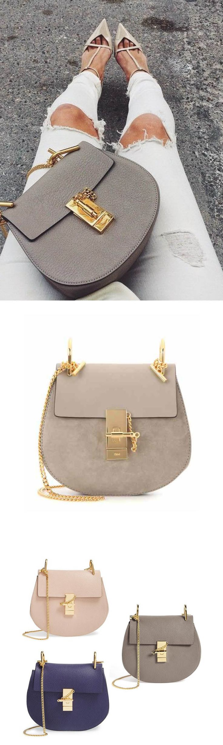 Outstanding handbag from Chloé  (Mini Drew Suede & Leather Saddle Bag)  #Chloe #handbag #accessoires #fashion #streetwear #modelstreetwear #trends2018