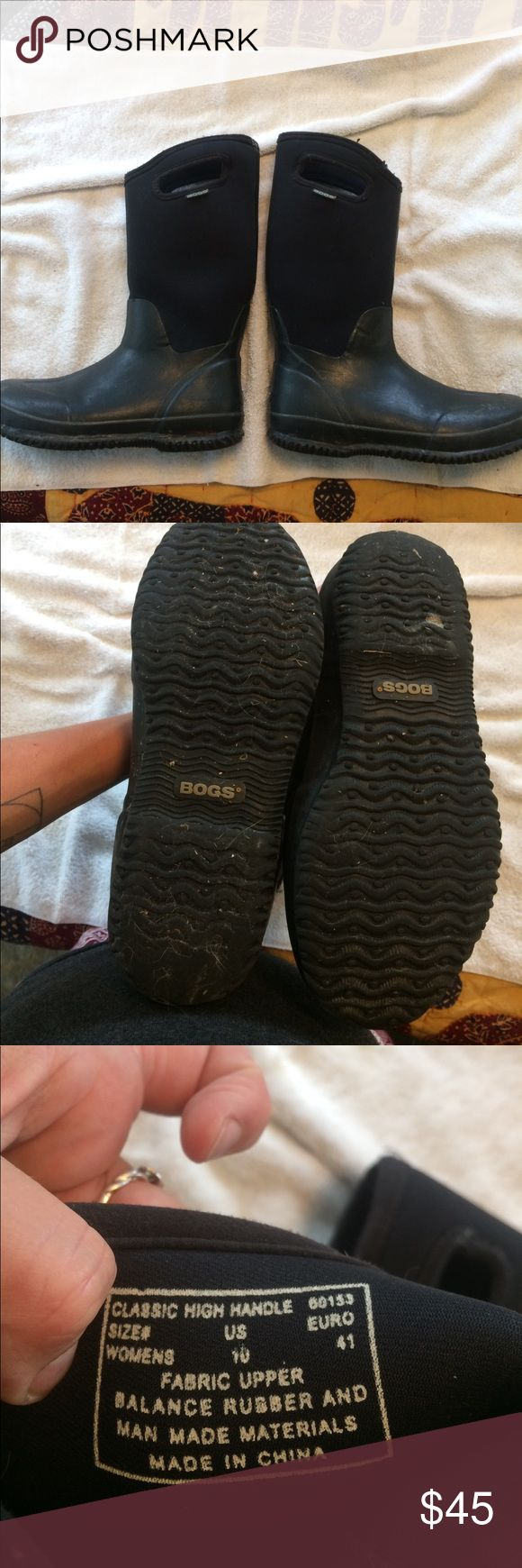 Bogs mud boots. Slightly worn and very functional pull-on mud boots. Women's size 10. There is abut of orange paint on the sole on one that will come off. Handles are a bit worn but not compromised. Bogs Shoes Winter & Rain Boots