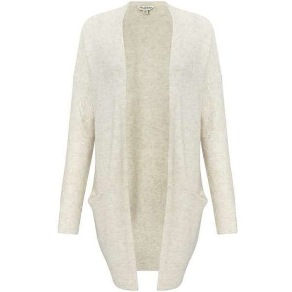 Cream Slouchy Knitted Cardigan ($49) ❤ liked on Polyvore featuring tops, cardigans, sweaters, cream top, cardigan top, miss selfridge, slouchy tops and white top