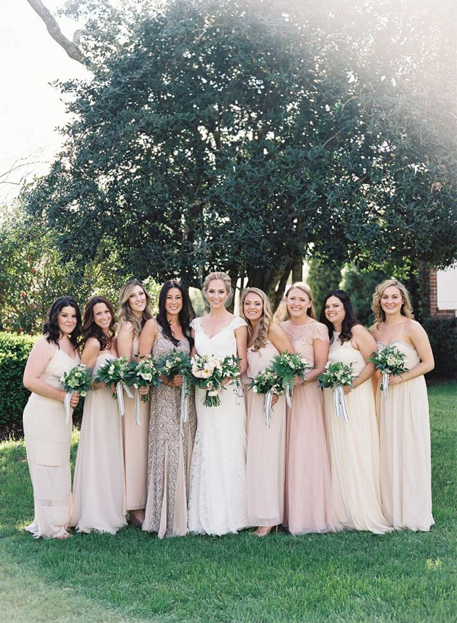 Mix-and-match neutral 'maids looks: http://www.stylemepretty.com/south-carolina-weddings/charleston/2015/08/07/rustic-elegant-spring-wedding-at-boone-hall-plantation/ | Photography: Virgil Bunao - http://virgilbunao.com/