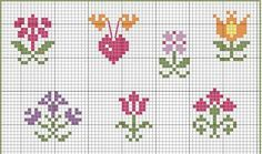 schema a punto croce - fiori semplici