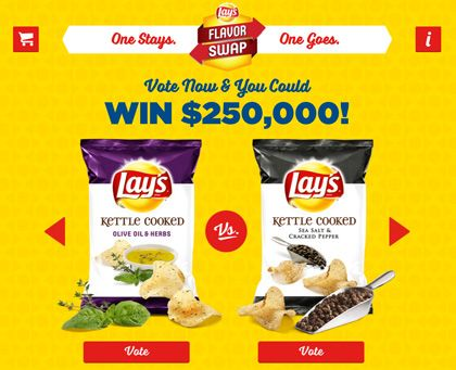 Lays Sweepstakes. Enter Lay's Flavor Sway $250,000 sweeps for your chance to win. Ends 3/21/2016