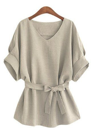 Stylish V-Neck Half Sleeve Solid Color Blouse For Women
