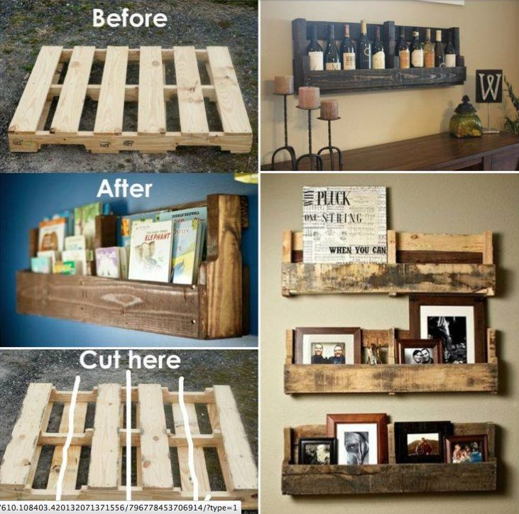 Wood crate shelves