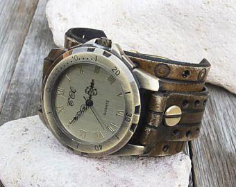 Reloj de pulsera de cuero brazalete reloj, reloj de pulsera de cuero de los hombres, estilo bronce, cuero reloj de brazalete boho