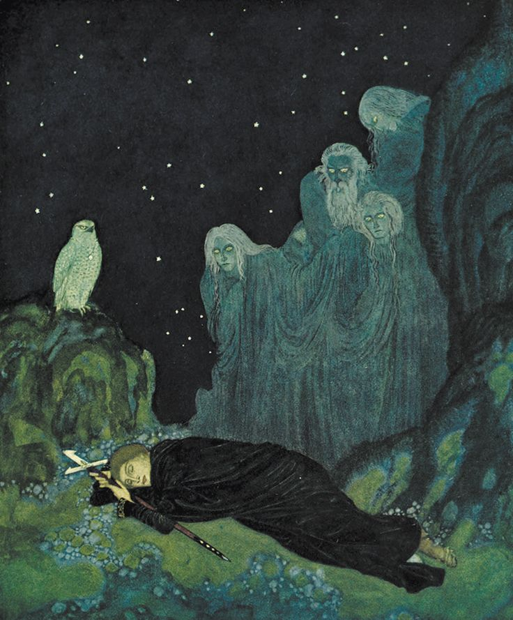 Illustration by Edmund Dulac for the book 'Dreamer of Dreams'. 'A circle of mist seemed to be settling around them'. http://www.amazon.com/gp/product/1447448979/ref=as_li_tl?ie=UTF8&camp=1789&creative=9325&creativeASIN=1447448979&linkCode=as2&tag=reaboo09-20&linkId=MUFNID6J7LWCWR5J