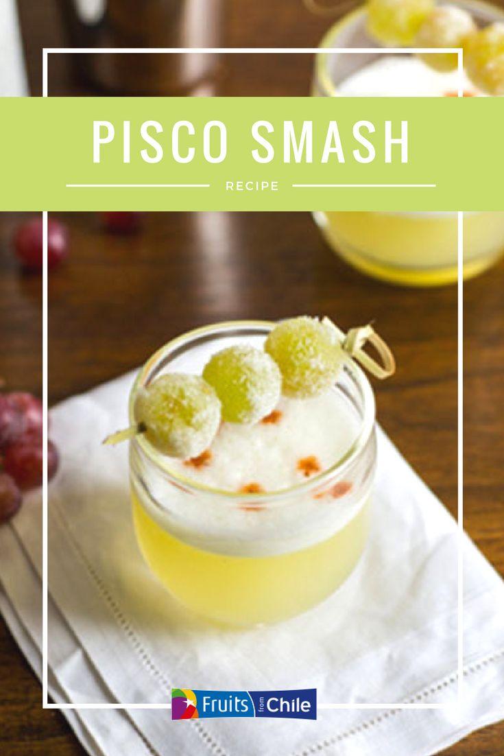 Use Chilean grapes in your recipes! Pisco Smash recipe from Fruits From Chile. #grapes #graperecipe #drinkrecipe #pisco