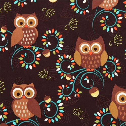 cute brown owl fabric Michael Miller from the USA #owls