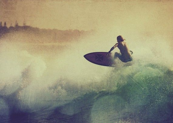 Surfer surf  photo wave surfing surfboard green by elgarboart, $12.00