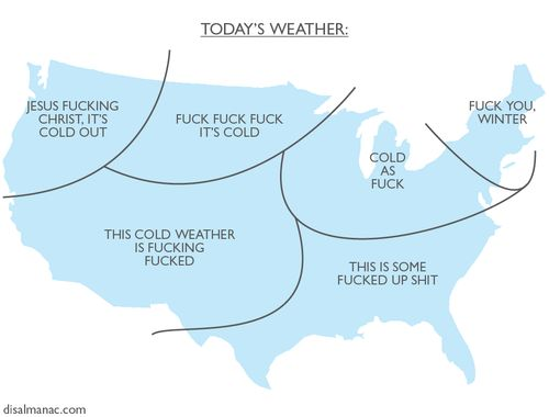 Today's weather, summarized.