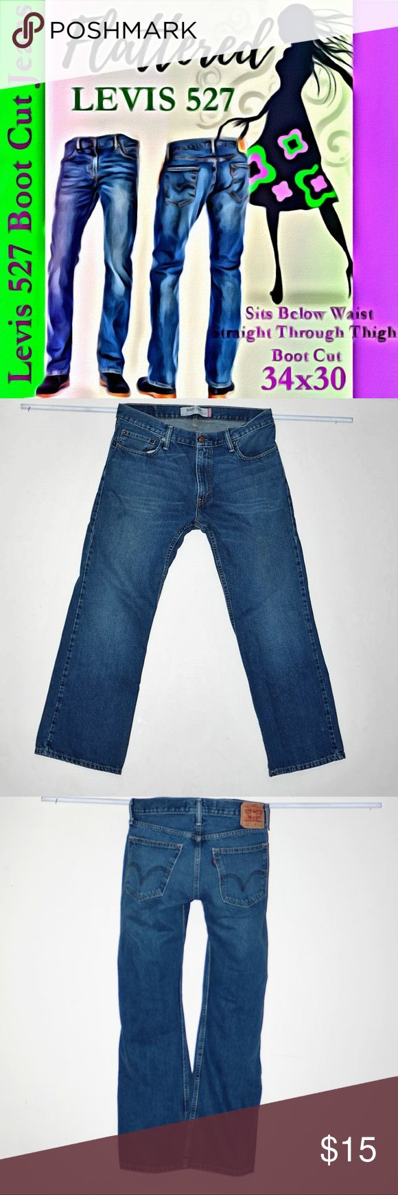 LEVIS 527 Boot Cut Jeans Mens 34x30 Denim waist 34 LEVIS 527 Boot Cut Jeans Mens 34x30 Denim waist 34 By Levis 527 Boot Cut Sits Below Waist Straight through Thigh Boot Cut 34x30 Minimal to no signs of wear Levi's Jeans Bootcut