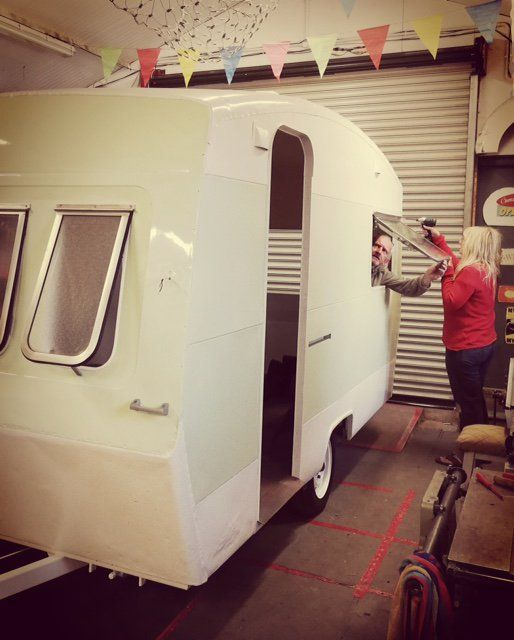 All Windows Are Now Re Fitted Back Onto The Alpine Sprite Caravan