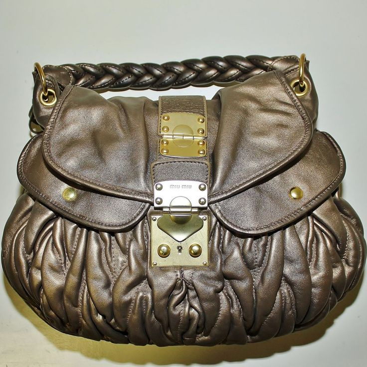 Authentic MIU MIU Coffer Matelasse Brown / Bronze Large Leather ... - prada shoulder bag black+bronze