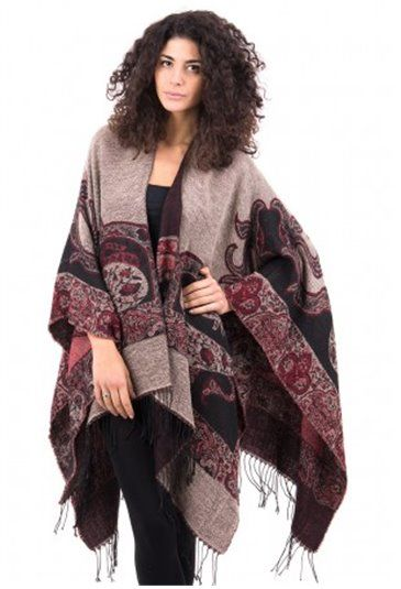Piękny wzorzysty szal, idealny na jesienne dni. Więcej na: http://zeltros.pl/pl/25-bluzki-i-okrycia