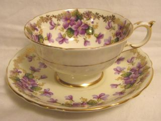 Paragon Fine Bone China Cup & Saucer Purple Flowers Violets? Gold Trim England photo