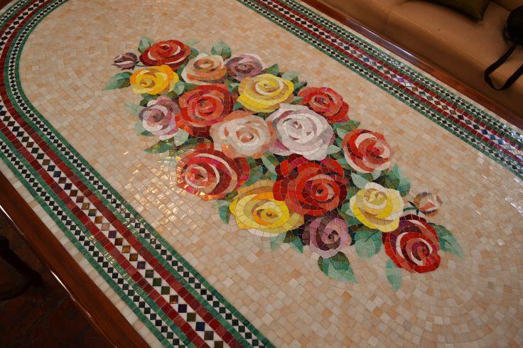 Mosaico Arte e Mestieri, mosaic table for garden or livingroom, glass mosaic and wood.
