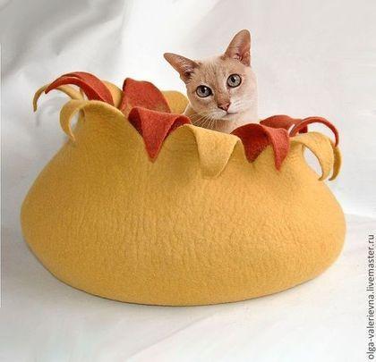 Аксессуары для кошек, ручной работы. Ярмарка Мастеров - ручная работа. Купить Кошкин дом Муррркиза.. Handmade. Желтый, домик для кошки