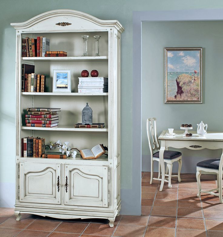 PR301 Libreria -  Provenzale bookcase with 2 doors | L/W 120 P/D 45 H 225 PR510 Sedia tappezzata -  Provenzale chair with fabric seat | L/W 50 P/D 45 H 100 Country Shabby Chic