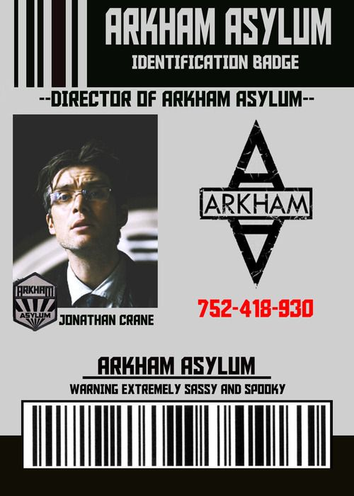 Arkham Asylum Director Identification Badge for Dr. Jonathan Crane