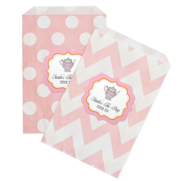 TREAT BAGS - Tea Party Chevron & Dots Goodie Bags (Set of 12) (Event Blossom EB2358TP)   Buy at Wedding Favors Unlimited (https://www.weddingfavorsunlimited.com/tea_party_chevron_and_dots_goodie_bags_set_of_12.html).