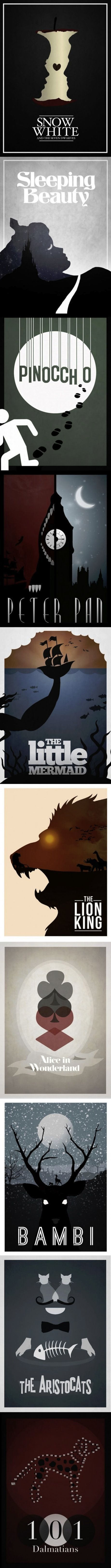 Simplistic Disney posters. I would blow these up and decorate with them.